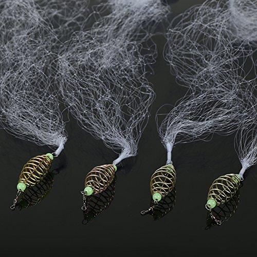Fischernetze Angeln Net Kupfer Nylon mit Leuchtperlen für Nacht Angeln 4 Stück(12#) -