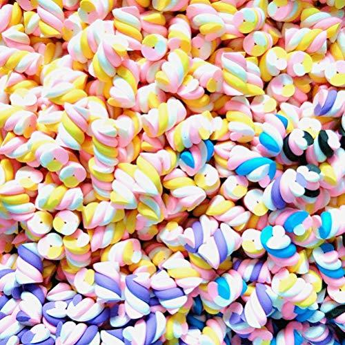 Charm-Anhänger in Herzform, Regenbogen-Marshmallow, Kunstharz, flache Rückseite, Cabochons für Handarbeit, Miniatur, Fee, Garten, Accessoires, Scrapbooking, DIY, multi, roll (Bulk Weihnachten Hüte)