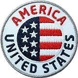 2 x USA Abzeichen gestickt 60 mm / United States, vereinigte Staaten von Amerika / amerikanische Flagge Wappen Reisen / Aufnäher Aufbügler Flicken Sticker Patch / Reiseführer Buch Karte National Park