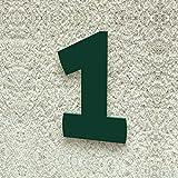 Colours-Manufaktur Hausnummer Nr. 1 - Schriftart: Modern - Höhe: 20-30 cm - viele Farben wählbar (RAL 6005 moosgrün (grün) glänzend, 20 cm)