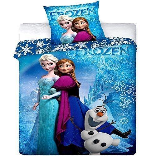 FLOCKEN EINZEL PLATTE BETTBEZUG SET STEPP ABDECKUNG BETTBEZUG ANNA ELSA OLAF (Disney Frozen Platten)