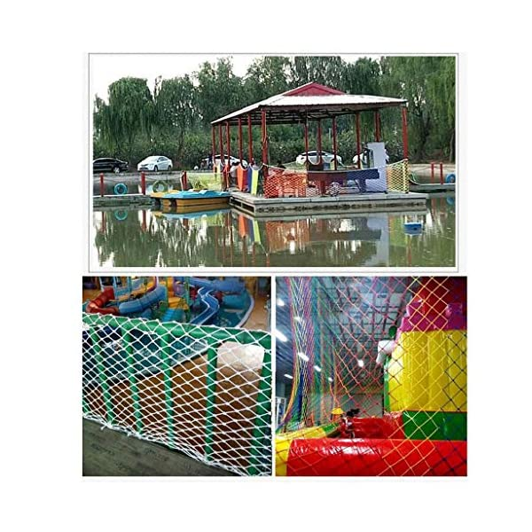 NIUFHW Child Safety Net, Protective Net Climbing Rope Cargo Trailer Decoration Net Children's Toys Pet Safety Stair Railing Net Playground Outdoor Terrace Balcony Can Be Cut 1x2m3m4m  ◆ Safety net wire diameter 6MM, mesh spacing 10CM. Color: color rope net. The protective mesh can be customized to the mesh spacing and color you want. ◆Nylon rope net, hand-made woven net, lightweight child safety fence net, high-grade sturdy woven fabric, professional knotting, multi-strand weaving, make the rope more durable, have strong impact resistance, and protect children's safety. ◆The rope net is suitable for various scenes, door and window corridors, stairs, balconies, railings, kindergartens, amusement parks, public facilities, landscape fences, exterior walls, plant protection nets, etc., which can be used to protect your baby's safety. 4
