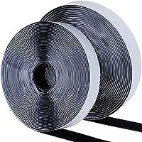 Faburo KM110 8m Doppelseitig Klettband Schwarz,Extra Stark Haftkraft Selbstklebend Flauschband Hakenband Langfristige Lebensdauere klebend