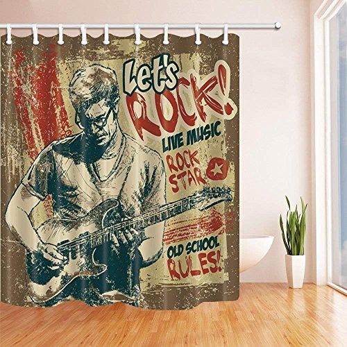 cdhbh Retro Poster Vorhänge Dusche für Badezimmer Entertainment Rock und Roll junge Menschen spielt Gitarre in Vintage, Polyester Stoff wasserdicht Bad Vorhang Vorhang für die Dusche Haken enthalten 180,3x 180,3cm