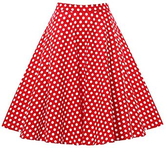 Gigileer Vintage Gonna a pieghe Swing 1950s inspired Circle gonne red with white polka dot Small