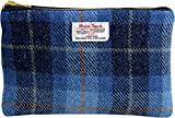 Vagabond Bags Harris Tweed Blue Check Large Cosmetic Bag Kulturtasche, 24 cm, Blau (Mid Blue)