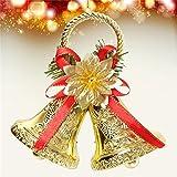 LaDicha Navidad Bowknot Doble Campana Xmas Árbol Ornamento Colgante Puerta Colgantes De Decoración