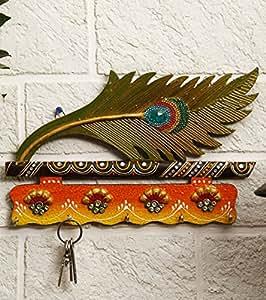 JaipurCrafts Beautiful Mor Pankhi Wooden Key Holder (4 Hooks, 9 in x 6 in)