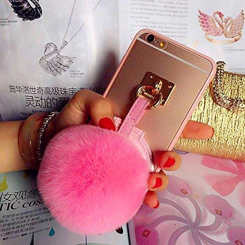 Coque iPhone 5/5s , iNenk® TPU souple Transparent luxe affaire téléphone Shell protecteur miroir lapin fourrure Ball couverture Mode créatif pour femmes-Rose rouge Rose