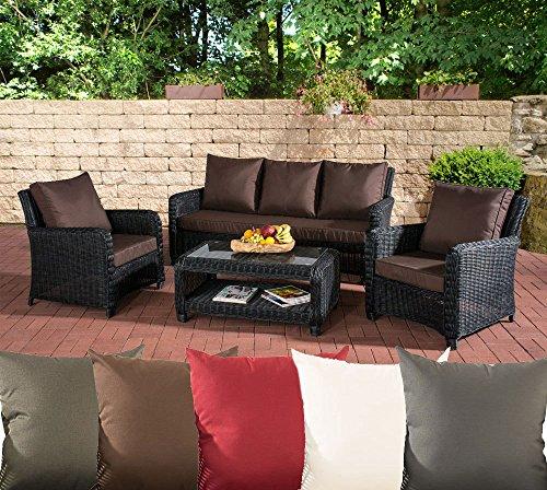 CLP Gartengarnitur SAN Fernando | Sitzgruppe mit 7 Sitzplätzen | Gartenmöbel-Set aus Polyrattan | In Verschiedenen Farben erhältlich Rattan Farbe schwarz, Bezugfarbe: Terrabraun