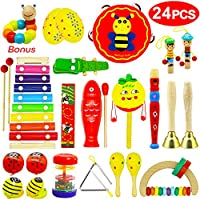 Vykor Musical Toys Wooden Musical Instruments for Toddlers Musical Set Percussion Instruments for Children Rhythm Instrument Set 24PCSToddler Musical Toy Baby Educational Musical Instruments Gift Set
