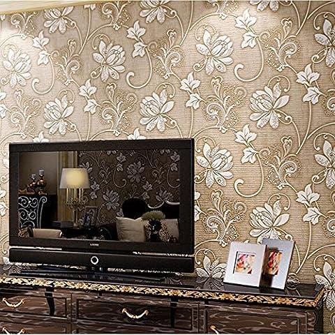 10M 3ft Floral 3D non-tissŽ Papier peint rouleau gaufrŽ texturŽ Flocked Home Decor mur