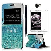 A3 Case , Galaxy A3 Cover ( 2016 Model ) - Lanveni Premium PU Leather View Window Protective Flip Case Ultra Slim Case Cover Printing Series for Samsung Galaxy A3 with 1 × Dust Plug + 1 × Stylus Pen + 1 × Screen Protector ( Not for 1st Gen. 2014 Model ) - Live It