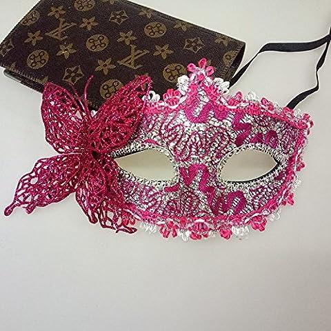 Fashion Schmetterling venezianische Maske, Princess Masquerade Maske Kostüm Party Halbmaske (Rosy) (Halloween Kostüme Arts And Crafts)