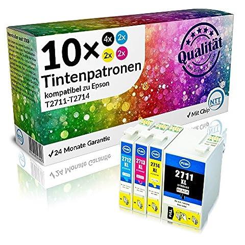 N.T.T.® ★★ PREMIUM ★★ 10x XL kompatible Druckerpatronen (4 Schwarz, 2 Cyan, 2 Magenta, 2 Yellow) für Epson WF-7620 DTWF, WF-7610 DWF, WF-7110 DTW, WF-3640 DTWF, WF-3620 DWF Tintenpatronen kompatibel zu Epson Serie 27XL (T-2711, T-2712, T-2713, (24 Kompatible Tintenpatrone Schwarz)