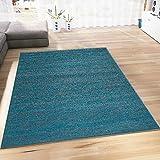 Teppich Modern Wohnzimmer Türkis Kurzflor Meliert Farbecht Pflegeleicht Schadstoff Geprüft 120x170 cm