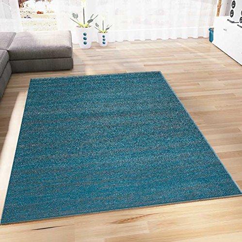Vimoda tappeto moderno soggiorno turchese pelo corto erica colorfast pratico sostanza inquinante testato turchese, 120 cm x 170 cm