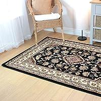HLS Alfombra de diseño oriental muy grande, estilo persa, floral, tradicional, color negro, 160 x 230 cm