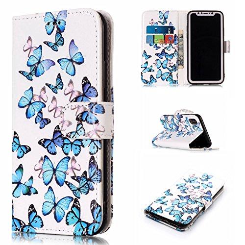 """iPhone X 5.8"""" Case étui Housse Ultra Slim étui Housse Cuir Coque avec Support Smart Cover Case Pochette Stand (PU Cuir,Ultra Mince Fin) iPhone X (5,8 pouces) Housse Case Premium Etui Portefeuille Wall Motif 23"""