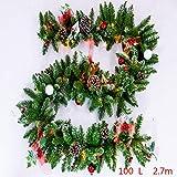 Ghirlanda natalizia verde rattan artificiale, giardino ornamenti con luci/senza luci (spedito dal Regno Unito)