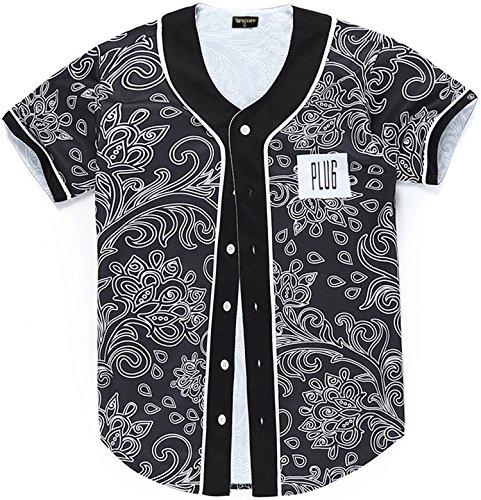 Pizoff Herren lässig Hip-Hop T-shirts Tops mit Knöpfen und Bunt Muster Y1724-31