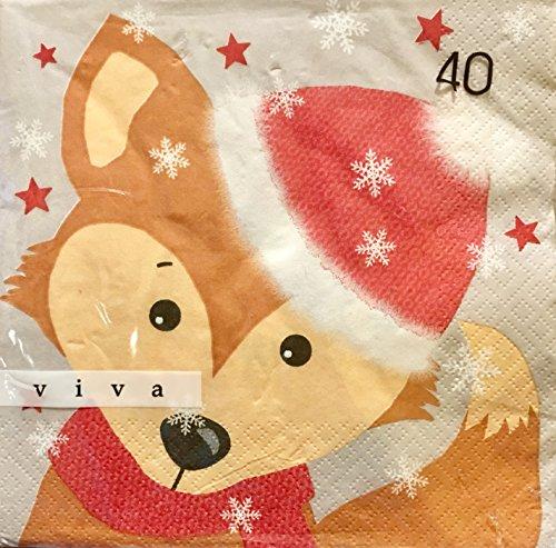 Viva Set 40Stück Papier Luncheon Weihnachten Servietten, Foxy Schneeflocken Luncheon Set