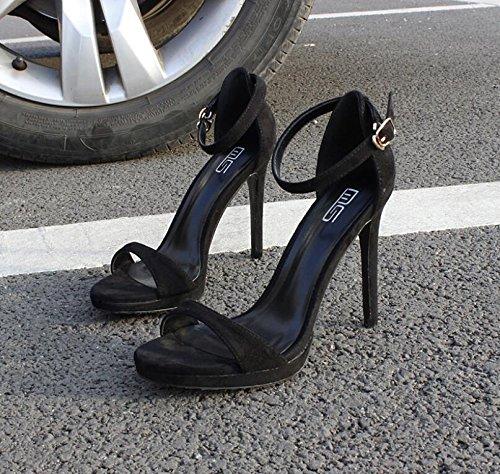 LGK&FA Sandales Stiletto Toutes Fines Sandales Toe-Match Une Boucle Femelle 33 black