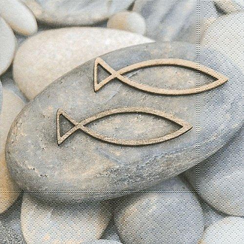 20 Servietten Decision – Fische auf Steine / Konfirmation / Kommunion / Taufe 33x33cm