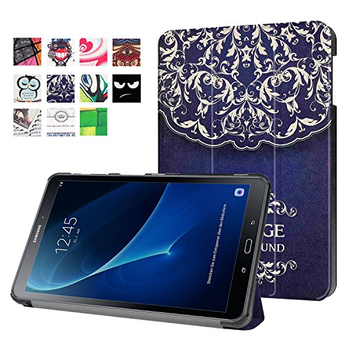 TOPBIN Schutzhülle für Samsung Galaxy Tab A 10.1 Zoll Tablet SM-T580 T585 2016 NO S Pen Version, Flower Vine Wireless Pen Kamera