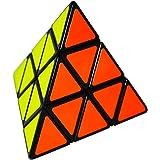 EASEHOME Triángulo Piramide Speed Magic Puzzle Cube, Pyraminx Rompecabezas Cubo Mágico PVC Pegatina para Niños y Adultos, Neg
