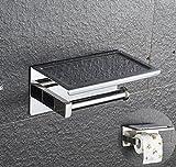PDFans SUS 304 Edelstahl Toilettenpapierhalter WC-Rollenhalter,3M-Kleber WC-Papierhalter mit Ablage, zur Wandmontage,Befestigen ohne bohren,Silber