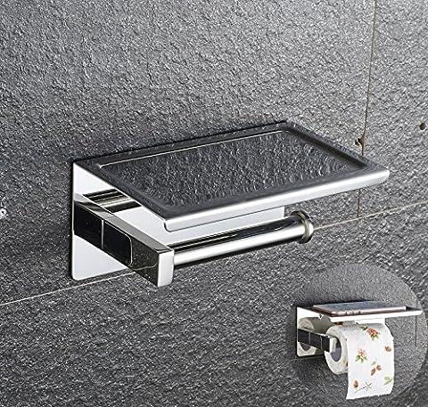PDFans SUS 304 Edelstahl Toilettenpapierhalter WC-Rollenhalter,3M-Kleber WC-Papierhalter mit Ablage, zur