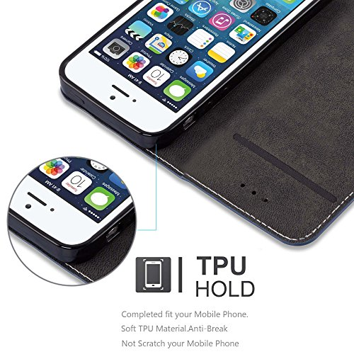 Cadorabo - Etui Housse pour Apple iPhone 5 / 5S avec Fermeture Magnétique Invisible (stand horizontale et fentes pour cartes) désign Similicuir-similicuir de cerf - Coque Case Cover Bumper Portefeuill NOIR-BLEU