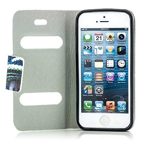 Saxonia Tasche Apple iPhone SE 5 5S Hülle Flip Case Schutzhülle Handytasche mit Fenster (View Cover) und Kartenfach, Motiv Blumen Mix Motiv Hut