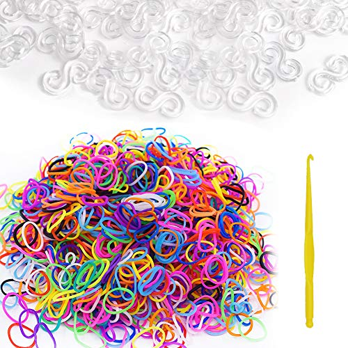 600 Stück weiße Gummibänder Nachfüllpackung + 480 Stück S-Clip + Loom Haken für Loom Gummiband Stricken Loom Tool Loom Kit DIY Rubber Band Armband Gewebte S-Clips Verbinder B (Loom Clips Stricken)