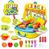 deAO Toys Little Chef Kitchen Mini Valigetta Portatile per Giochi di Ruolo, con Accessori (Giallo)