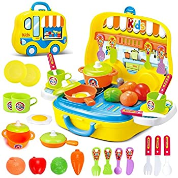 deAO Toys Little Chef Kitchen Mini Carry Case Portable Role Play Set with Accessories (Yellow)