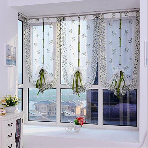 Roman tende Cafe Style Short Doorcurtains tulle tessuto velato pannello moderna tende per cucina fiore finestra trattamento voile (80*100cm) -1pcs, 1*?80*150cm?