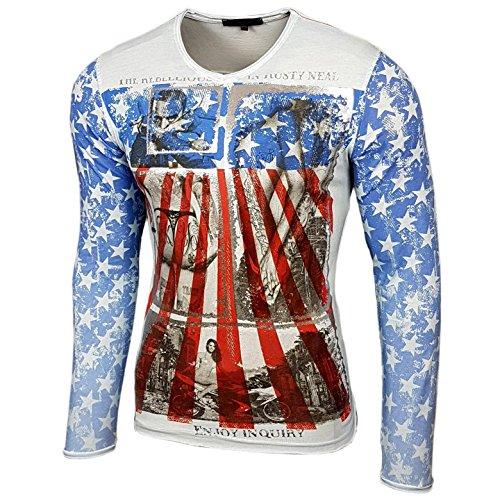 RUSTY NEAL Herren Langarm Longsleeve T-Shirt Sweatshirt Pullover Hemd R-10132 Hellblau