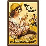 Nostalgic-Art 10259 Open Bar - Wer Bier Trinkt Hilft. Fräulein, Blechpostkarte 10x14 cm