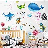 HALLOBO® Wandtattoo Wandaufkleber Tiefsee Fisch Haie Wal Kinderzimmer Fish Fischwelt Seewelt Wand Sticker Deko