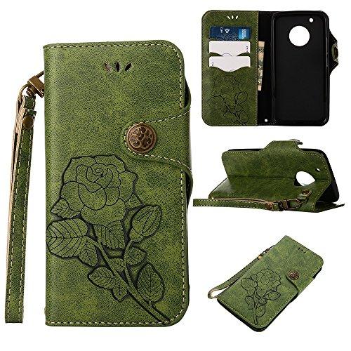 YHUISEN Moto G5 Plus Case, Luxus Retro Rose Premium PU Leder Magnetverschluss Flip Wallet Schutzhülle mit Lanyard für Motorola Moto G5 Plus (2017) ( Color : Khaki ) Green