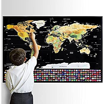 Landmass scratch off world map poster original travel tracker map scratch off world map premium edition world scratch map poster with country flags scratchable travel tracker poster national geographic world map best gumiabroncs Choice Image