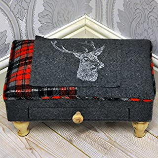 AcaciaHome Grey & Red Deer Stags Head Check Tartan Tweed Fabric Covered Footstool