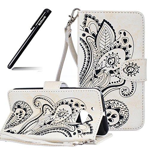 BtDuck HTC 10 Hülle Leder, Brieftasche Flip Cover Portable Carrying Strap Embed Patterned Handytasche PU Leder Schutzhülle für HTC One M10 Tasche Handyhülle (Weiß)