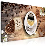 decomonkey Bilder Kaffee Küche 100x45 cm 1 Teilig Leinwandbilder Bild auf Leinwand Vlies Wandbild Kunstdruck Wanddeko Wand Wohnzimmer Wanddekoration Deko Kochen Caffe Herz Blumen Brett