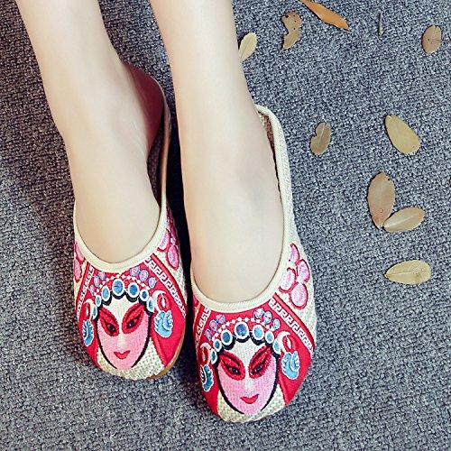ZQ Gestickte Schuhe, Sehnensohle, ethnischer Stil, weiblicher Flip Flop, Mode, bequeme, lässige Sandalen , rose red , 36