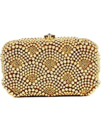 The Indian Handicraft Store Presents Front And Back Both Side Golden Beads Work On Designer Handmade Box Clutch...