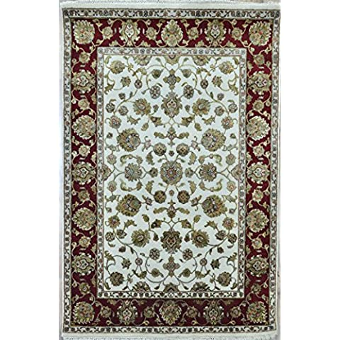 Splendid Indian Art lana de colores hechos a mano-marfil rojo área alfombra persa alfombra
