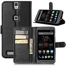 Funda Elephone P8000 Cover, Vikoo Tapa de Cuero de La PU Case de la Cartera con Ranuras para Tarjetas Incorporadas Flip Cover para Elephone P8000 Smartphone Case - Negro